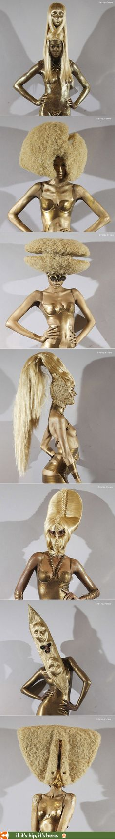Golden Wigs from Charlie Le Mindu's 2013 Haute Coiffure Collection.
