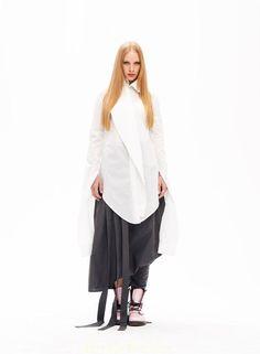 Incredible / deconstructive cotton white shirt by MariaQueenMaria, $109.00