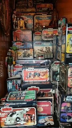 I just crammed remnants of my youth in an old stairway we don't use. www.kenshobeats.com #vintage #starwars #kenner