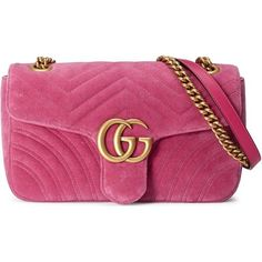 Gucci Gg Marmont Chevron Velvet Shoulder Bag (€1.525) ❤ liked on Polyvore featuring bags, handbags, shoulder bags, gucci, purses, pink, pink shoulder bag, chain strap shoulder bag, shoulder hand bags and handbag purse