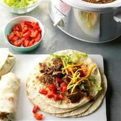 """Green Chili Beef Burritos Recipe -""""Recipes that are leaner in fat and calories - like the one for these delicious burritos - helped me lose 30 pounds,"""" confirms Shirley Davidson of Thornton, Colorado. """"The meat is so tender. Mexican Dishes, Mexican Food Recipes, Dinner Recipes, Ethnic Recipes, Dinner Ideas, Mexican Meals, Indian Recipes, Shrimp Recipes, Chicken Recipes"""