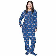 New York Mets Women's Royal Blue One-Piece Footie Pajamas Suit