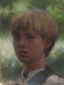 Original Pastel. Portrait of a boy by Jean-François Le Saint(131123-1)