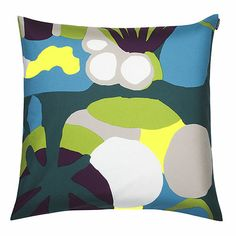 Rocks, roots, rivers... is that a creature crawling around? Designed by Pia Holm, this abstract forest scene will ignite your imagination. Marimekko Neppari Blue/Green/Yellow Throw Pillow - $48