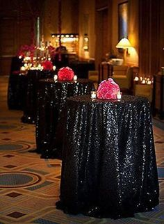 "108"" Round Sequin Black Tie Tablecloth ready to ship Wedding Birthday Goth"