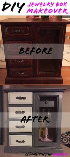 DIY Jewelry Box Makeover Before and After                              …