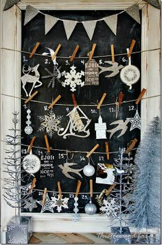 2013 Glitter Christmas Mantel Advent Calendar, Silver Christmas Decor Ideas #2013 #christmas #mantel #advent #calendar www.loveitsomuch.com