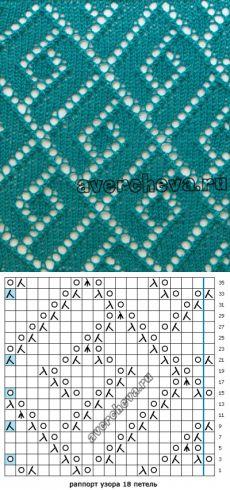 узор спицами 556 « геометрия в ажуре»   каталог вязаных спицами узоров
