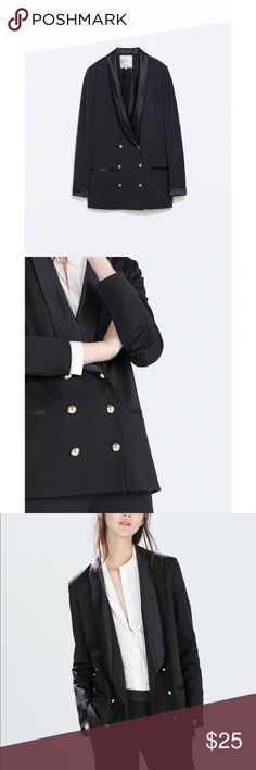 Zara navy blue oversized blazer XS Zara navy blue oversized blazers with satin lake. Like new only worn a handful do times. Size XS. Super cute! Total length: 29 inches Zara Jackets & Coats Blazers