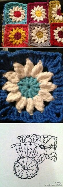 crochet flower granny square - just perfect for a spring blanket (and to finish up yarn left overs ;) Would make a gorgeous sunflower quilt! Crochet Motifs, Crochet Blocks, Crochet Diagram, Crochet Chart, Crochet Squares, Love Crochet, Diy Crochet, Crochet Flowers, Crochet Stitches