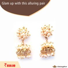 Ravishing jhumki match it up with a chiffon suit/saree of all colors with outlines to make stunning look. #Classyplus #WomanAccessories #Shopping