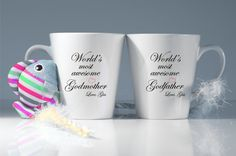 Personalized Godmother,Godfather latte mugs-Godparent gift-Godmother gifts-Christening gifts-Godmother-Present for godparents-Personalized