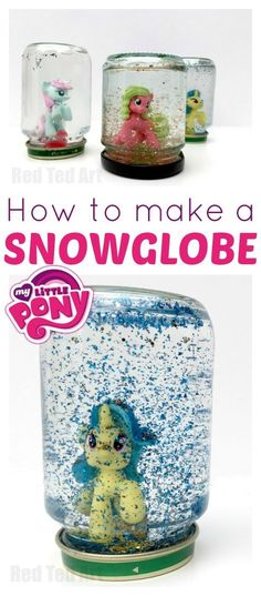 """My Little Pony DIY Snowglobes - Love this adorable My Little Pony Craft. A great party craft activity or party bag gift idea. Great for using up """"doubles"""" from your My Little Pony toy collections!"""