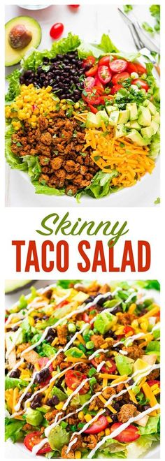 Skinny Taco Salad with ground turkey black beans avocado and Greek yogurt salsa dressing AMAZING easy low carb recipe Perfect for fast healthy lunches weeknight dinners a. Healthy Dinner Recipes, Mexican Food Recipes, Cooking Recipes, Keto Recipes, Lunch Recipes, Low Cholesterol Recipes Dinner, Dinner Salad Recipes, Appetizer Recipes, Easy Recipes