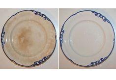 Smid ikke dit gamle porcelæn og fajance med brune fedtpletter ud! Giv det misfarvede service et bad i hårblegemiddel. Lær tricket her.