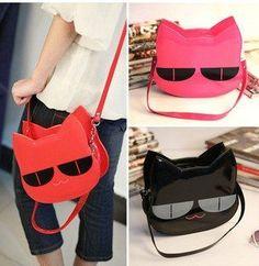 Wholesale retail day evening bag clutch shoulder bag sling Handbag  Lady girl's Fashion shiny cute cat 3D multi color option $5.04