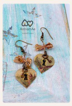 key heart earrings brass heart shape with by AnniamAeDesigns, $16.00