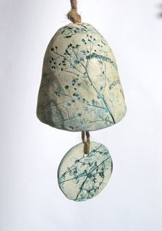 Teal Green and Cream Pressed Flora Ceramic Bell No by SlashofBlue, $32.00