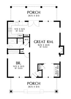 Main Floor Plan of Mascord Plan 1176 - The Aumsville - A Beautifully Detailed Craftsman Getaway Small House Floor Plans, House Plans And More, Cottage House Plans, Cottage Homes, Bungalow Homes, Flex Room, Craftsman Style House Plans, Little Houses, Tiny Houses