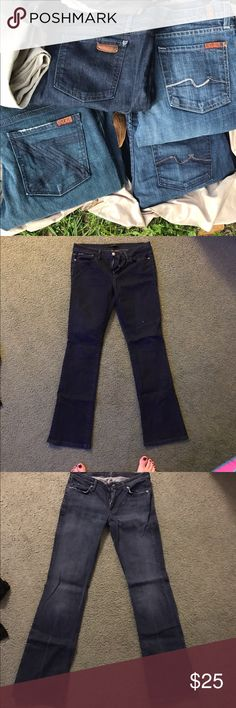 Designer Jeans-Joe's and Seven for All Mankind Like new, bought before I got pregnant and only wore a few times. Will discount if more than one is bought. One pair of Joe's Jeans and the rest Sevens. Pair with Swarovski crystals is a 27 but they all fit me about the same. Seven7 Jeans Boot Cut