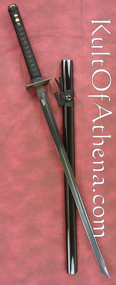 Shinwa Black Knight Ninja Katana with Damascus Steel Blade