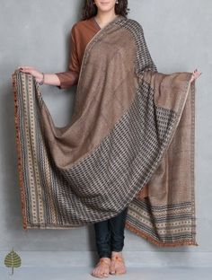 Brown-Black Block Printed Tussar Dupatta with Woven Border by Jaypore