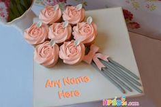 Floral Cupcake Bouquet Cake With Name Edit Mother Birthday Cake, Birthday Cake Write Name, Happy Birthday Cake Photo, Birthday Cake Writing, Unique Birthday Cakes, Happy Birthday Flower, Birthday Cake With Flowers, Cake Name, Purple Birthday
