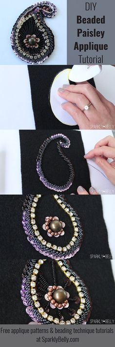 DIY beaded paisley applique for dance costumes, accessories or home decor