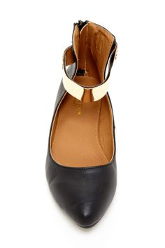 beautiful flats with gold ankle strap