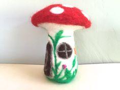 Mushroom house Toadshtool house fairy house fairyland by Felt4Soul