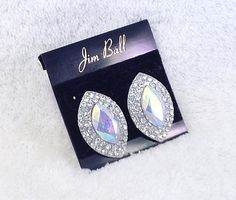 AB Crystal and Rhinestone Button Earrings