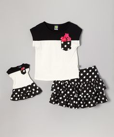 Black and White Ruffle Skirt Set with Doll Outfit - Toddler  Girls