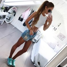 Cool Outfits, Summer Outfits, Summer Clothes, Teen Fashion, Fashion Outfits, Denim Skirt, White Shorts, Fashion Looks, Style Fashion