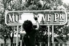 """""""As one young black told me: 'Musgrave will never be the same again.' The tents are now gone, but his opinion is supported by the official sign at the park. Painted out are the words 'Musgrave Park'. Instead it reads 'Aboriginal Land'. Bob Weatherall. 1982"""