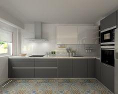 Modelo Line E Gris y Line L Blanco | Encimera Silestone Blanco #cocinasmodernasgrises