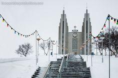 Church of Akureyri during winter in Akureyri in Iceland