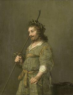 Portrait of a man dressed as a shepherd and Portrait of a man dressed as a shepherd: known as the portrait of Joost van den Vondel (1587-1679) | Hendrik Gerritsz. Pot | c. 1630 - c. 1645 | Rijksmuseum | Public Domain Marked
