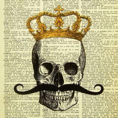 Skull Print - Skull King - ORIGINAL ARTWORK hand painted art print on Vintage Dictionary page, Dictionary art, Dictionary print, wall art Crane, Pen & Paper, Dictionary Art, Ouvrages D'art, Hand Painting Art, Skull Painting, Skull Print, Skull And Bones, Illustrations
