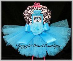 Dog Tutu Dress Damask & Turquoise Parfum Perfume  Couture XS or Small