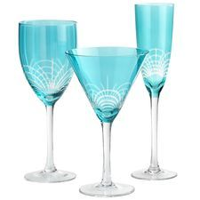 Teal Pavo Etched Stemware