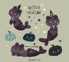 Doodle, Doodle, Doodle witch and mercat Cute Animal Drawings, Kawaii Drawings, Pretty Art, Cute Art, Dibujos Cute, Kawaii Cat, Cute Doodles, Wow Art, Cat Drawing