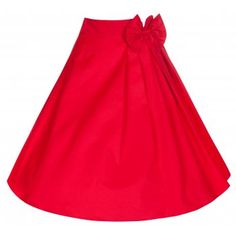 'Noreen' Cute Bow Red Jive Skirt