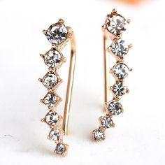 1c018c737963 Ear Crawler Earring Set Crystal 14k Yellow Gold Vine Climber New Jewelry  Fashion  HandmadewithLove
