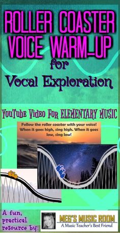 Roller Coaster Voice Warm-Up for Vocal Exploration Singing Lessons, Singing Tips, Music Lessons, Voice Warm Ups, Smart Board Lessons, Music Classroom, Music Teachers, Music And Movement, Teaching Music
