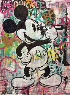 INDO Street Artist  Mickey Mouse  Original Mixed Media on Canvas 101cm x 76cm