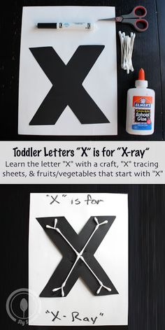 Toddler/Preshooler letter of the week craft X is for X-Ray with related craft tracing sheets and fruits/vegetables. Preschool Letter Crafts, Alphabet Letter Crafts, Preschool Projects, Daycare Crafts, Preschool Lessons, Alphabet Activities, Preschool Activities, Letter Art, Summer Crafts For Toddlers
