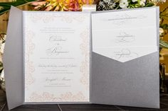 Dusty silver gray wedding invitation with matching gray ink and peach embellishments ♥ #inspiration #ideas