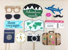 Travel Photo Booth Props Going Away Party Farewell Bon Voyage Adventure Awaits Bachelorette Birthday FULLY ASSEMBLED 13 PC ✦ This set includes 13 assortment of photo props that are ideal for travel themed parties! Bon Voyage Party, Going Away Parties, Grad Parties, Themed Parties, Themes Photo, Photo Booth Props, Stage Props, Photo Backdrops, Photo Booths