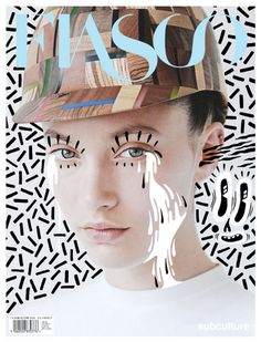 Fiasco | unisex fashion, arts, and lifestyle. Note whimsical merging of photography & illustration, color pulled from photo. Phillip Meech, Photography; Hattie Stewart, Illustration;  Hope Von Joel, Art Director