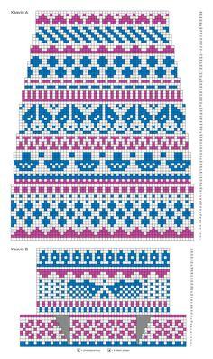 Kirjoneulesukat – katso ohje   Meillä kotona Fair Isle Knitting Patterns, Fair Isle Pattern, Knitting Charts, Knitting Socks, Knitting Stitches, Knit Patterns, Free Knitting, Cross Stitch Borders, Cross Stitch Charts
